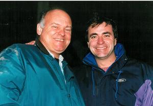 Två rallyvärldsmästare på samma bild. Stig Blomqvist och spanjoren Carlos Sainz som tog två VM-guld, 1990 och 1992. Arkivbild