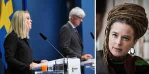 Lena Hallengren, kultur- och demokratiminister Amanda Lind samt Folkhälsomyndighetens generaldirektör Johan Carlson.