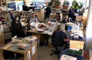 En undersökning visar att fyra av tio upplever att de alltid eller väldigt ofta blir störda på kontoret. Av alla kontorsanställda beräknas cirka två tredjedelar arbeta i öppna kontorslandskap. /FOTO: Janerik Henriksson/TT