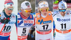 Norges Astrid Uhrenholdt Jacobsen, Niklas Dyrhaug, samt Stina Nilsson och Calle Halfvarsson. Foto: TT