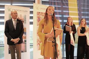 Ella Andersson höll ett spontant tal från podiet när hon fick ta emot pris.