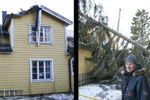 Taket är skadat där granen landade. – Den har legat över murstocken, det är jävligt illa, säger Dick Malm.