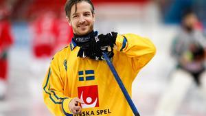 Hans Andersson gjorde sin hundrade landskamp mot Ungern. Foto: Rikard Bäckman / Bandypuls.se / TT