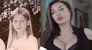 Vänster: Gävlebördiga plastikmodellen Pixee Fox 1999 (då hon hette något annat). Bild: Skolkatalog. Pixee Fox 2018. Bild: Pixee Fox officiella facebooksida.