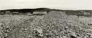 Gruvdrift vid Fröå omkring 1880. I mitten syns gruvvinden där kopparmalmen anrikades. Foto: Föreningen Fröå gruva