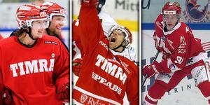 Kirill Starkov, Niklas Anger och Janne Laakkonen. Tre spelare som inte gått till historien som de som lämnat störst avtryck i Timråtröjan. Bild: Arkiv