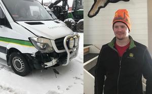 Oskar Perssons minibuss fick skador på fronten efter olyckan med tankbilen.
