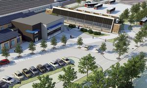 Skiss av den tänkta utbyggnaden av stationshuset och den nya bussterminalen.