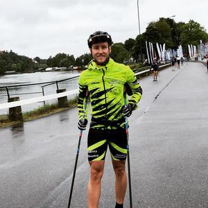Alliansloppet i Trollhättan i somras, världens största längdskidlopp. Där placerade Ronny sig som nummer 82 av 360. Bild: privat