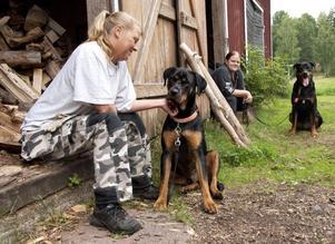 Åsa Persson med Tyson och Ulrika Feldt med Boss vilar från veden som de håller på att stapla i vedbon.