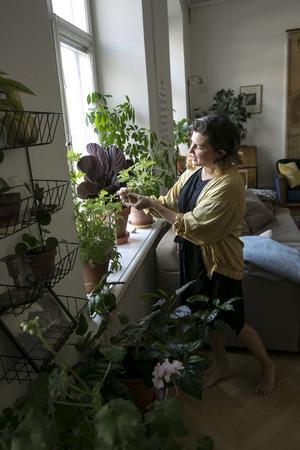 Sofia sjunger och pratar med sina växter.