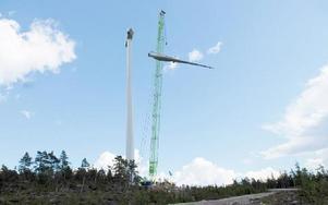 Monteringen av ett vindkraftverk vid Säliträdberget på Solleröskogen i juli 2008. Foto: Dan Havemose/Arkiv/DT
