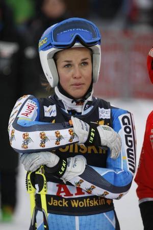 Maria Pietilä–Holmner var tvåa i Åres slalomtävling, en väldigt fin prestation.