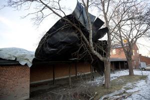 Plåttaket på Brännaskolan lyftes av stormvindarna och hamnade mot ett träd.