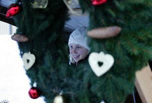 Mathilda Berg från Östavall sålde egenhändigt gjorda kransar på julmarknaden i Kölsillre.