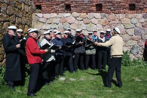 Här sjunger Bro Manskör vid Hammershus fästning Foto: Kerstin Karlsson