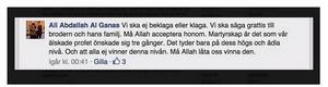 Ali Abdallah Al Ganas kommentar till en anhörig på Facebook.