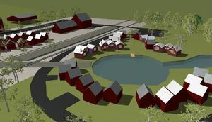 Så här skulle den tänkta bod- och bobyn i anslutning till den föreslagna lagunen och kanalen från sjön Hålen kunna se ut enligt planförslaget. Längst upp i bild ses järnvägsstationen i Åsarna.