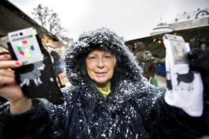 Maud Nylén, 67 år, Glanshammar:– Jag har köpt strumpor, 13 par för 100 kronor och alla med hundmotiv.
