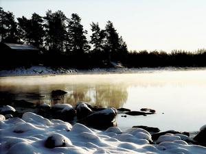 Isen är på väg att lägga sig över Storsjön. Foto: Annika Karlsson