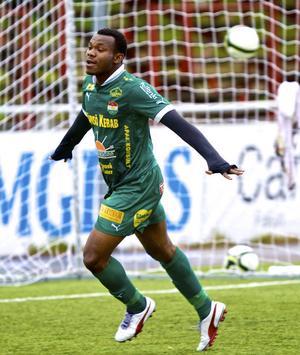 Michael Junior Omoh gav Dalkurd ledningen med 2–1 hemma mot Sandviken.