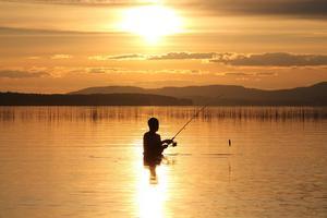 Vinnare: Två flugor i en smäll, bad och fiske. Jimmy Nymark fiskar och badar i Stråtjära på Skogsand i solnedgången.