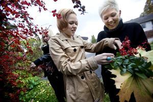 Tillsammans. Mamma Therese förbereder sin mans födelsedag. Tillsammans med barnen Fanny och Felicia plockar hon löv som ska användas som bordsdekoration.
