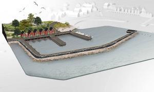 Lörudden får en helt ny hamn intill den gamla med en pir, ny serviceanläggning, bilparkering och väganslutning.