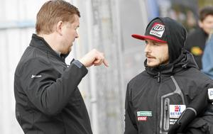Peter Johansson med stjärnföraren Vaclav Milik.