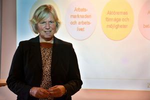 Ann-Marie Begler, generaldirektör för Försäkringskassan, besökte Örnsköldsvik på onsdagen. Hon är förhoppningsfull över att nå regeringens mål vad gäller att få ner sjukpenningtalen i landet.