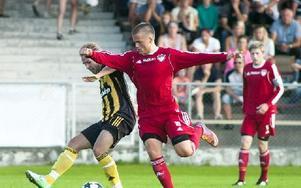 Derbyt mellan Falu FK och Korsnäs på Kopparvallen stördes av några överförfriskade herrar i publiken. Foto: Mikael Forslund