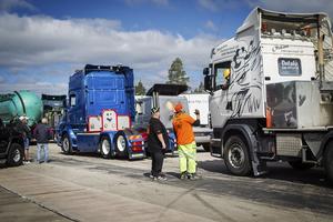 Många lastbilar, långtradare och liknande fordon fanns på plats i helgen.