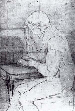 L G Malmbergs teckning av vad som länge har antagits vara Erik Johan Stagnelius.