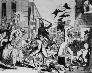 Progrom mot judar i Frankfurt 1819. Samtida illustration Johann Michael Voltz.