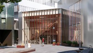 Den öppna ytan mellan riksbankshuset och Konserthuset  leder in mot Kulturkvarterets glasade entré med multiscenen till höger. Illustration: Wingårdh arkitektbyrå.