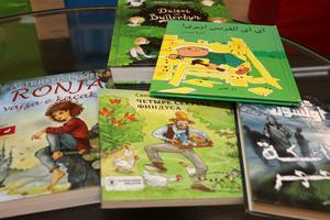 På biblioteken finns redan många böcker på andra språk. Med extrapengarna kan man utöka och förnya utbudet.