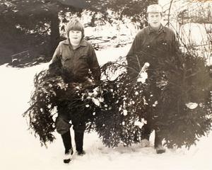 Anders och Ralf Söderblom har huggit julgranar. Året var 1978. Då fanns varken smarta telefoner eller Netflix, så det gick att få med sig barn ut. Foto: NT
