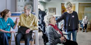 Åsa Erkers med Göran Pettersson till vänster. Margareta Nilsson med Barbro Klaeson till höger.