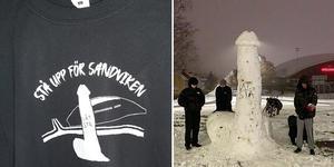 Snöpenisen har blivit motiv på t-shirts. Bilder: Privat.