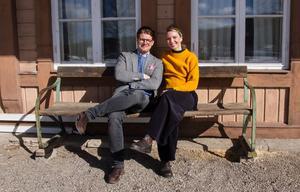 Rickard Thunér och Erika Åberg vid tv-inspelningen i mars.
