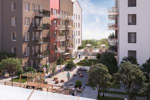 Index Residence, som ska bygga Orangeriet i Norrtälje Hamn, visar upp illustrationer hur kvarteret med 92 lägenheter kommer att se ut. Illustration: Index Residence