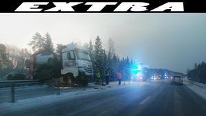 En lastbilsolycka inträffade på E4 strax norr om Gävle på torsdagsmorgonen. Trafiken påverkas kraftigt under en längre tid.