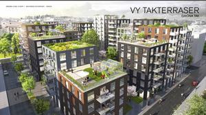 BJC Group AB planerade bostadshus på Österport innehåller bland annat takterrasser.  Illustration: White BJC Group
