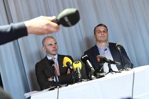 Östersunds FK:s förre ordförande Daniel Kindberg vid förra veckans presskonferens efter tingsrättens fängelsedom.