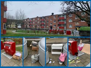 Många återvinningsstationer förvandlas till skrotupplag. Den här i kvarteret Karmen i Örebroär ett exempel.