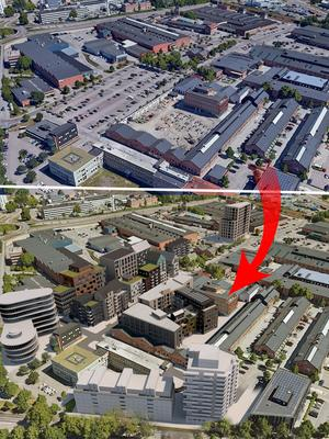 Kopparlunden från ovan, nu och  i framtiden.  Vid infarten från Kopparbergsvägen kan det bli en större kontorsbyggnad med mycket glas i fasaden. Bild: Fojab