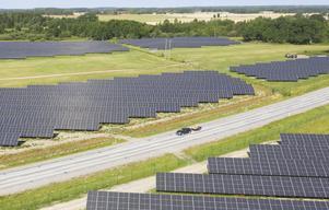 Park med solpaneler som utvinner solenergi med solpaneler utanför Strängnäs. Foto: Fredrik Sandberg/TT