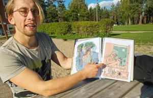 Kalle Landegren har först tecknat små versioner av bilderna, som han sedan skalar upp och för över till väggarna med hjälp av ett rutnät.