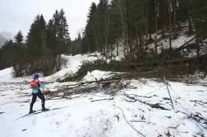 I januari i år stötte arrangörerna i Oberstdorf på problem med stormar som ställde till det. Här inspekterar en funktionär en kameraplattform som träd fallit över.  Foto: Karl-Josef Hildenbrand/TT