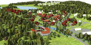 Längs Stensättravägen blir det flerbostadshus och i väster, uppe till vänster på bilden, blir det villor. Vissa bostäder är placerade inom Mälarens strandskyddszon. Mälaren ligger utanför bild till höger. Illustration ur plan- och genomförandebeskrivningen.